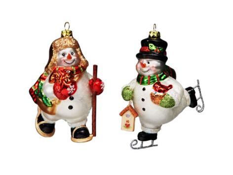 Лесные снеговички-спортсмены стеклянные (в инд.уп.), асс. из 2-х, 12 см