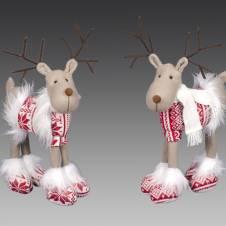 Северный олень в скандинавском красно-белом костюме, асс. из 2-х, 43 см