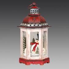 Фонарь рождественский белый с красной крышей, дерево/металл/стекло, 13х12х23,5 см