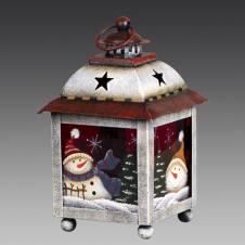 Фонарь рождественский красно-белый со снеговичками средний, металл/красное стекло, 10х10х16 см
