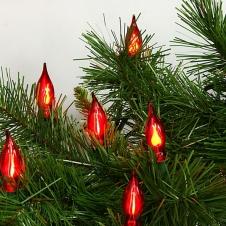 """Электрогирлянда """"Пламя свечи"""" 25 красных ламп, зеленый провод, 10 м"""