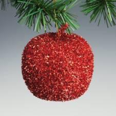Яблоко красное блестящее, 10 см