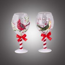 """Бокал для вина """"Лесные птички"""" с красным бантом стеклянный, асс. из 2-х, 6х6х14 см"""