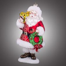 Дед Мороз на подставке в красной шубе с рождественским венком и подарком стеклянный (в инд.уп.), 13х13х26,7 см