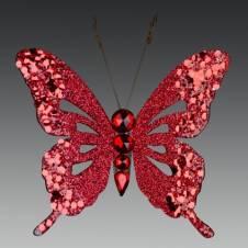"""Бабочка """"Бали"""" искристая красная на прищепке, 10х9 см"""