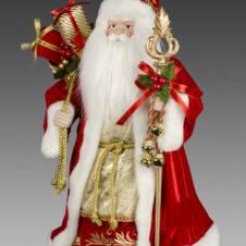 Дед Мороз в красной шубе с мешком подарков и посохом с колокольчиками, 40 см
