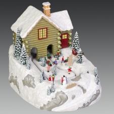 """Композиция """"Дети на зимней прогулке"""" музыкальная с LED-подсветкой, 13х17х13 см"""
